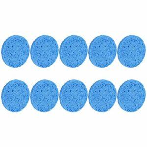 Lurrose 10pcs maquillage éponge éponge pour le visage comprimé rond épilation démaquillant éponge cosmétique feuilletée purification feuilletée exfoliant pour les femmes (bleu)