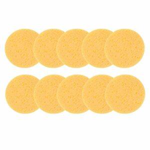 Lurrose 10pcs maquillage éponge éponge pour le visage comprimé ronde épilation démaquillant éponge cosmétique feuilletée purification feuilletée exfoliant pour les femmes (jaune)