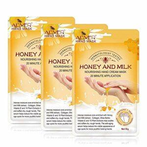 Masque pour les mains, 3 paires de gants hydratants au miel et au lait Nourrissant Adoucir Soin des mains pour les fissures sèches Hydratant Exfoliant la peau blanchissante femmes et les hommes