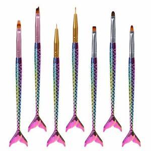 MelodySusie 7 Pinceaux Ongles Nail Art, Brosse à Ongles Acrylique UV Gel Peinture Stylo Ensemble, Convient pour la Poignée de Ponceuse, les Ongles Polyformes, le Stylo de Peinture.