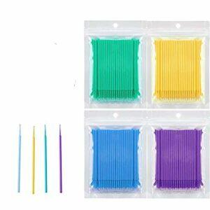 Micro Brosses Applicateur Jetables INTVN 400 PCS Plastique Jetable Pinceaux Extension de Cils Micro Pinceaux Jetable Extension de Colle Cils pour Oral et Dentaire,Maquillage et Propreté,4 Couleurs