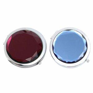 Miroir pliant en cristal, miroir argenté miroir pliant double face portable cadeau d'anniversaire miroir mini maquillage bleu miroir violet peut être fourni aux amoureux de la beauté (2 pièces)