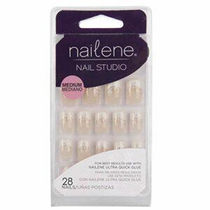 Nailene Nail Studio à ongles french à paillettes feuilles