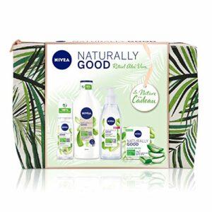 NIVEA NATURALLY GOOD Trousse Aloe Vera (1 x 1 pce), trousse de toilette contenant 4 soins visage & corps incontournables NATURALLY GOOD, vanity femme coloré et garni
