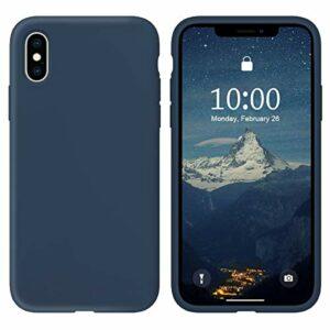 Oihxse Silicone TPU Gommage Case Compatible pour iPhone 11 Coque Ultra Fine Souple Protection Housse Mignon Couleurs Bumper Étui Anti-Rayures Cover(Foncé Bleu)