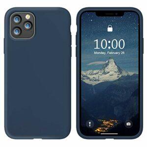 Oihxse Silicone TPU Gommage Case Compatible pour iPhone 12 2020 (5.4») Coque Ultra Fine Souple Protection Housse Mignon Couleurs Bumper Étui Anti-Rayures Cover(Foncé Bleu)
