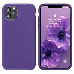 Oihxse Silicone TPU Gommage Case Compatible pour iPhone 12 2020 (5.4») Coque Ultra Fine Souple Protection Housse Mignon Couleurs Bumper Étui Anti-Rayures Cover(Pourpre)