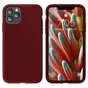 Oihxse Silicone TPU Gommage Case Compatible pour iPhone 12 Max 2020 (6.1») Coque Ultra Fine Souple Protection Housse Mignon Couleurs Bumper Étui Anti-Rayures Cover(Rouge foncé)