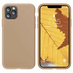 Oihxse Silicone TPU Gommage Case Compatible pour iPhone 12 Pro Max 2020 (6.7») Coque Ultra Fine Souple Protection Housse Mignon Couleurs Bumper Étui Anti-Rayures Cover(Thé au Lait)