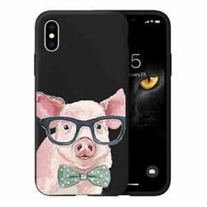 Oihxse Ultra Mince Silicone Case Compatible pour iPhone X/iPhone XS Coque Souple Mignon Gommage Protection Housse Creatif Motif Bumper Etui Doux Antichoc Cover(Noir-Cochon)
