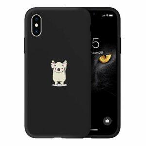 Oihxse Ultra Mince Silicone Case Compatible pour iPhone X/iPhone XS Coque Souple Mignon Gommage Protection Housse Creatif Motif Bumper Etui Doux Antichoc Cover(Noir-Koala)