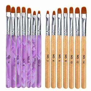 Ongles Nail Art Brosses,BETOY 14 Pièces Acrylique Nail Art Brosses Pinceau Gel UV Nail Art Deux Styles pour l'Art Des Ongles, Brillant à Lèvres, l'Eye-Liner,Salon de Beauté (7 Tailles)