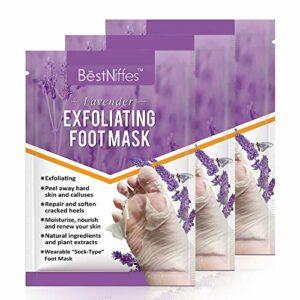 Paquet de 3 masques pour les pieds, masques exfoliants pour les pieds, exfoliant naturel pour les peaux mortes sèches, callosités, réparation des talons rugueux pour hommes, femmes (lavande)