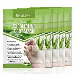 Paquet de 5 masques pour les pieds, exfoliants pour les pieds, exfoliant naturel pour les peaux mortes sèches, callosités, réparation des talons rugueux pour hommes, femmes (pack de 5 aloès)
