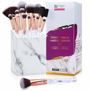 Pinceaux de maquillage DUAIU 15Pcs Professional Premium Set de pinceaux de maquillage synthétique pour fard à paupières correcteur sourcils poudre avec marbre carré belle boîte-cadeau