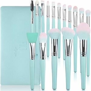 Pinceaux de maquillage DUAIU 16 pièces Pinceaux maquillage synthétiques de qualité supérieure manche en bois bleu pour fond de teint correcteur fard pinceaux de maquillage avec sac cosmétique