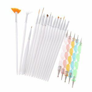 Pinkiou Nail Art Set, 15pcs pinceaux de peinture à ongles avec 5pcs stylos à ongles pour la conception des ongles (blanc)