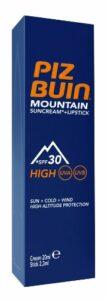 Piz Buin Gamme Montagne Tube Combi de Crème de Protection Solaire IP30 20 ml et Stick à Lèvres IP30 2,3 ml