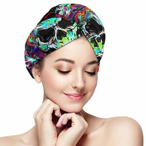 QHMY Art Evil Skull Hair Towel Wrapped, Microfiber Hair Toilet Twisted Cap Soft with Button Dry Cap Cap, Convient aux Cheveux Unisexes à séchage Rapide