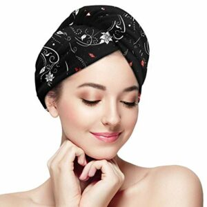 QHMY Brunette Girl Flowers Hair Towel Wrapped, Microfiber Hair Toilet Twisted Cap Soft with Button Dry Hair Cap, Convient aux Cheveux Unisexes à séchage Rapide