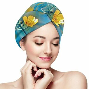 QHMY Fleurs Bokeh Spring Hair Towel Wrapped, Microfiber Hair Toilet Twisted Cap Soft with Button Dry Cap Cap, Convient aux Cheveux Unisexes à séchage Rapide