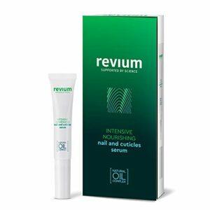 Revium – Sérum nourrissant et régénérateur pour ongles et cuticules abîmés, enrichie en myrrhe, coton, amande, huiles de colza et de germes de blé, avec vitamines (A, E, F et C) et lécithine