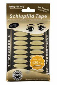 SCHLUPFLID TAPE® «lady size» (L) – Lèvres sans opération [120 pièces], bandes à enfiler pour de beaux yeux ouverts, petite aide à la beauté des paupières suspendues.