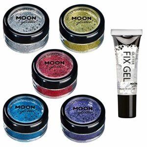 Secoueurs à paillettes fines par Moon Glitter (Paillette Lune) – 100% de paillettes cosmétique pour le visage, le corps, les ongles, les cheveux et les lèvres – 5g – Assortiment de 5 couleurs