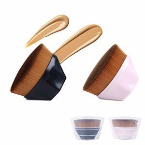 sorliva Lot de 2 pinceaux plats pour fond de teint liquide haute densité BB crème poudre maquillage pinceau noir et rose