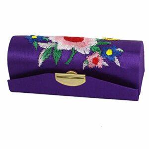 sourcingmap Femmes Floral Brodé Rouge À Lèvres Rouge À Lèvre Étui Support Boîte Violet
