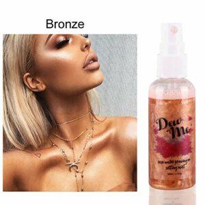Spray De Maquillage, Maquillage Surligneur Pour Visage/Corps, Rose Liquide Hydratant Shimmer Setting Spray Pour Avant et Après le Maquillage Par KISSION (Bronze)