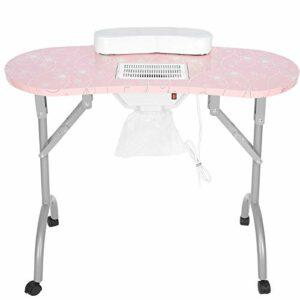 Station de table de manucure pliante Bureau de salon d'art d'ongle avec le poste de travail d'oreiller de main de collecteur de poussière 4 roues verrouillables pour le salon de beauté(UE)