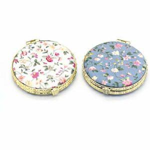 Style Chinois Miroir Portable,Miroir de poche petit miroir de maquillage impression rétro miroir de maquillage miroir de beauté miroir fait main en porcelaine bleue et blanche conception d'oiseau 2pcs