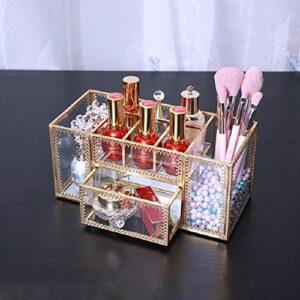 Sunsunshh Pinceau de Maquillage Outil de Stockage de Bureau Boîte cosmétique en Verre Boîte de Rangement (Color : Copper)