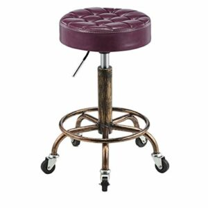 Tabourets Meubles de beauté Coiffure Pulley spéciaux for Les Salons de beauté, Salons de Coiffure Coiffure, manucure, Coupe Rotating Cheveux Rond (Color : Purple)