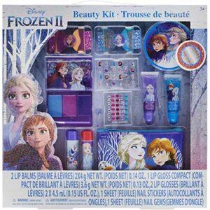 Townley Girl Trousse de beauté Disney surgelée, baumes à lèvres, brillants, appuyez sur les ongles, gemmes, autocollants, barrettes