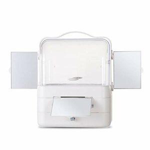 Trousses de Toilette Cosmétiques Boîte de rangement avec miroir Support de rangement Boîte à bijoux Parfum Rouge à lèvres avec compartiment Dresser Salle de bain avec tiroir ( Color : 3mirror )