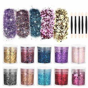 Visage Glitter Chunky Glitter – 10 boîtes ensemble de paillettes – corps cosmétique Glitter cheveux Nail Art décoratif pour Slime Party Christmas Arts artisanat (NO.1)