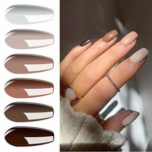 Vishine Vernis Semi Permanent Lot de 6 Couleur Nude Vernis à ongles Gel UV Série Nude Pure Soak Off Nail Art Coffret 8ml