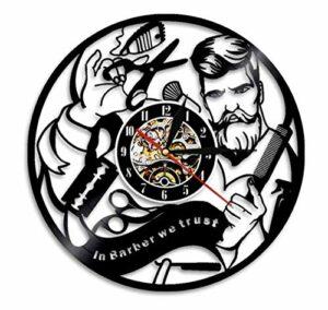 Warmlinan Salon de Coiffure Disque Vinyle Silencieux Horloge Murale Coiffeur Salon de beauté Boutique Montre Murale décor en barbier Nous Faisons Confiance Coiffeur Cadeau