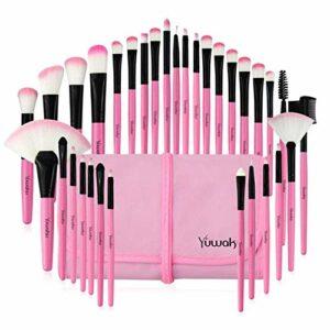 WCY 32 Brosse de Maquillage Ensemble à l'outil de Maquillage de Maquillage de 32 pièces.32 pinceaux de Maquillage Noir, Emballage en PVC, Instructions et Logo. yqaae (Color : Pink New Logo.)