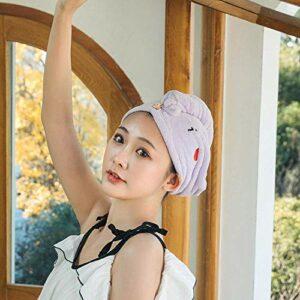 WLD Bonnet cheveux secs, avec boutons lettre broderie polaire corail chapeau cheveux secs violet clair, serviette légère douce, chapeau féminin, utilisé pour les outils de bain, serviette de bain à