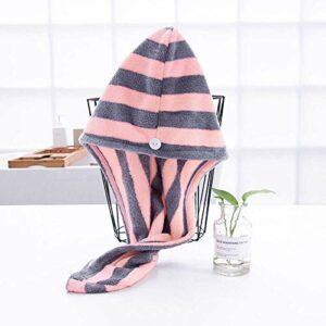 WLD Bonnet cheveux secs, boutons rayés épaissir polaire corail Bonnet cheveux secs gris rose clair, serviette légère douce, chapeau féminin, utilisé pour les outils de bain, serviette de bain à séch