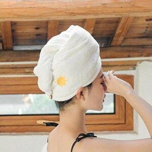 WLD Bonnet pour cheveux secs, avec boutons Chapeau pour cheveux secs blancs en polaire corail soleil, serviette légère et douce, chapeau féminin, utilisé pour les outils de bain, serviette de bain à