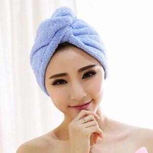WLD Bonnet pour cheveux secs, avec boutons épaissir le chapeau de cheveux secs bleu polaire corail, serviette légère douce, chapeau féminin, utilisé pour les outils de bain, serviette de bain à séch