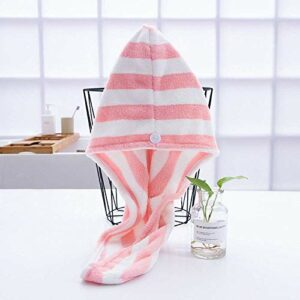 WLD Bonnet pour cheveux secs, boutons à rayures épaissir le capuchon de cheveux secs rose en polaire corail, serviette légère douce, chapeau féminin, utilisé pour les outils de bain, serviette de ba