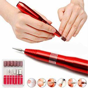 XHDMJ Lime À Ongles Électrique, Ensemble De Pédicure Lime À Ongles Professionnelle pour La Maison Et Le Salon, Rouge