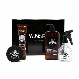 Yunsey – Coffret Cheveux for Men – 3 Soins – 1 Spray – Soins Capillaires – Shampoing – Pommade Coiffage – Crème Fixante – Homme – Gamme Professionnelle