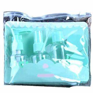 (1 jeu) 7pcs Taille Voyage bouteilles toilette Set Approuvée Maquillage clair cosmétique liquide avec des conteneurs pour la beauté Sac Zipper