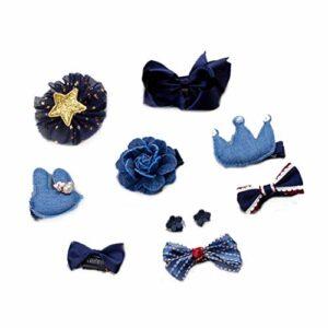 10 PCS cheveux Bows Big Grand Boutique Ruban Grosgrain Clips Bow cheveux pour les filles Ados Tout-petits enfants bleu foncé Fournitures Styling